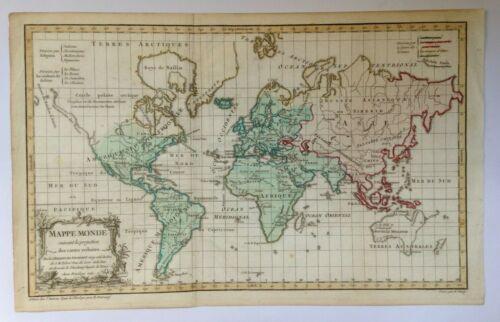 WORLD MAP DATED 1761 XVIIIe CENTURY ROBERT DE VAUGONDY UNUSUAL ANTIQUE MAP