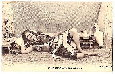 MAROKKO HAREMSDAME MIT NACKTER BRUST MAGHREB VINTAGE 1910S ETHNIC NUDE PC