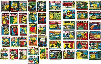 50 STATE VINTAGE STYLE TRAVEL DECALS / VINYL STICKERS, LUGGAGE LABELS (2 INCH@)
