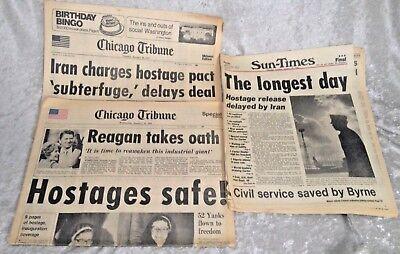Chicago Tribune Sun Times  Iran Hostage Crisis  3  Newspapers  Jan  20 21  1981