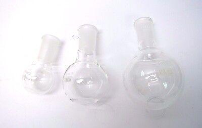 Qty 3 Round Bottom Flask Lab Glassware 50ml 100ml 250ml