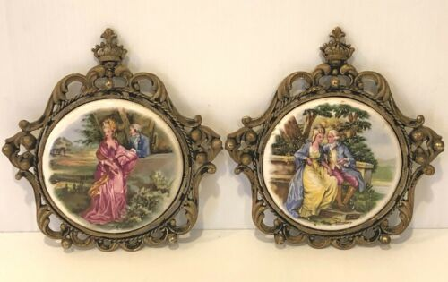 2 Vintage Ormolu Brass Framed Porcelain Victorian Lovers Wall Courting Plaques