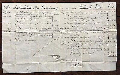 1789 Philadelphia Friendship Fire Company Handwritten Account Sheet Richard Vaux