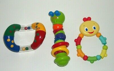 Lot of 3 Baby Rattle Toys Bright Starts Beads Infantino Worm & Tolo Twist & Turn