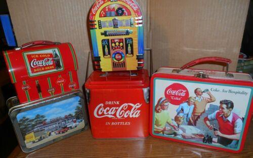Lot of 5 Coca Cola Coke Collectors Tins Cooler Lunch Box