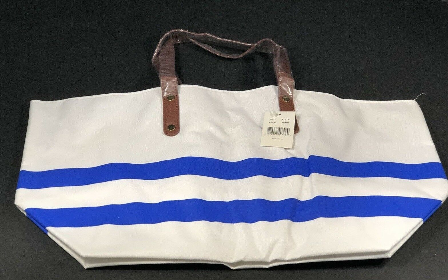 Womens Handbags Beach Bag White With Blue Stripes & Brown Ha