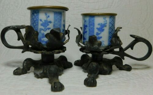 Pair of Antique CAST IRON Claw Foot BLOW BLUE Porcelain Copper Candle Holders