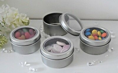 Small Round Silver Metal Clear Display Tins Party Sweets Wedding Gifts Favours  Small Silver Favor Tins