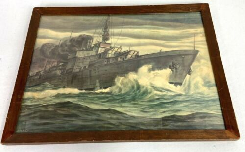 Vintage Naval Destroyer Framed Print