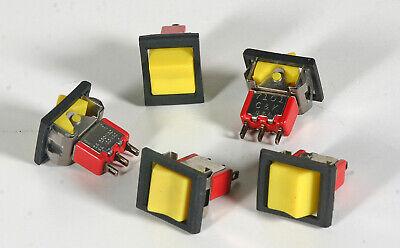 Ck Rocker Spdt Switch - Yellow Button Black Frame - 5 Pieces