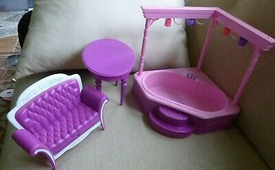 """BARBIE'S DREAMHOUSE Doll JACUZZI LIGHTS UP TUB Pink Toy 9""""x 8.5"""" table sofa LOT"""