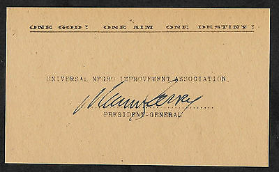 Marcus Garvey Autograph Reprint On Original Period 1930s 3x5 Card
