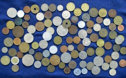 Lot of 100 Foreign Worldwide Coins Antique Vintage to Modern About 75 Different
