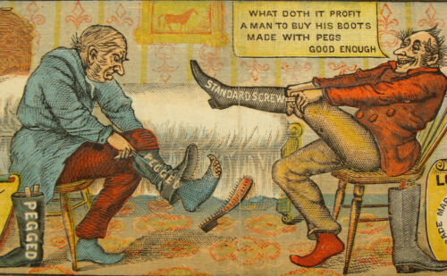 1880s Standard Screw Fastened Shoes Boots Hirshberg & Samuels Hartford CT T5