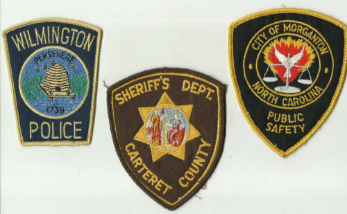 Carteret / Morganton / Wilmington (NORTH CAROLINA) Police/Sheriff Patches (USED)