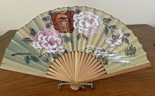 Delicate Old Asian Hand Painted Fan Floral Peonies Buttercup Paper Bamboo Fan