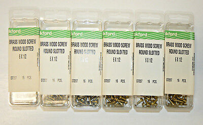 6 X 12 Solid Brass Wood Screws Round Head Slotted Drive - Lot Of 96 Pcs.