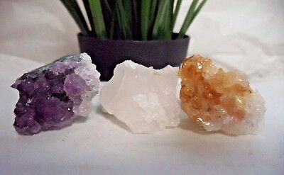 Natural Citrine Amethyst Clear Quartz Crystal Clusters: 3 Piece Lot