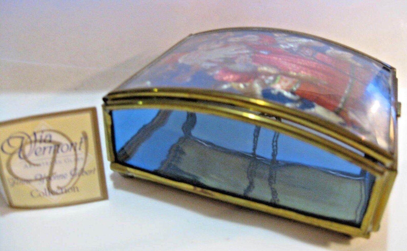 ST. Nicholas Anne Yvonne Gilbert VIA Vermont Christmas Trinket box Brass Glass