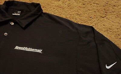 Mens Newell Rubbermaid Embroidered Black Work Polo Shirt By Nike Golf Large