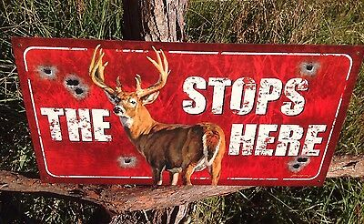 THE BUCK STOPS HERE Rustic Tin Metal Sign Vintage Wall Garage Classic Bar
