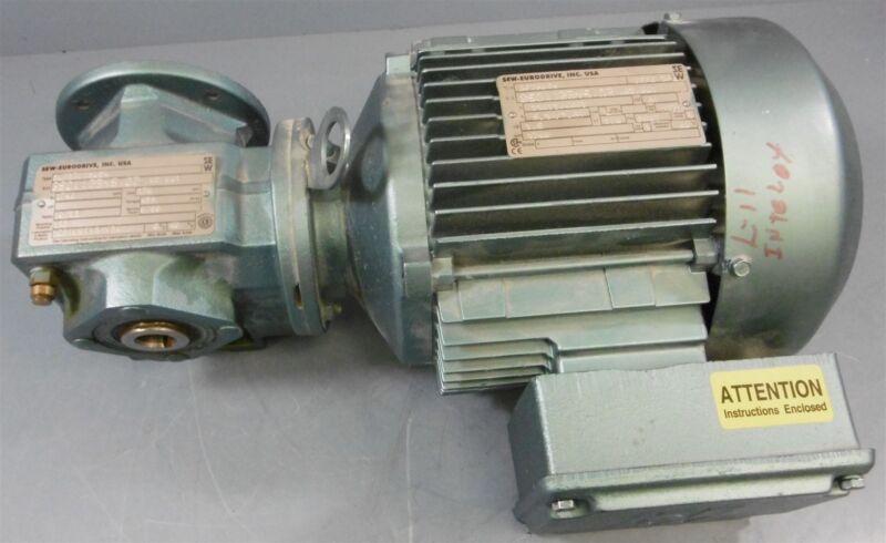 Sew-Eurodrive 1.5HP Electric Motor DFT90S4 + Gear Reducer SAF37DT90S4 10.23:1