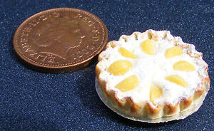 1-12-Scale-Flan-With-Peach-Slices-Dolls-House-Miniature-Cake-Accessory-D2