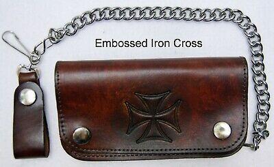 """Leather Chain Wallet Brown Bi-Fold Embossed Iron Cross  Biker Trucker 6"""" -"""
