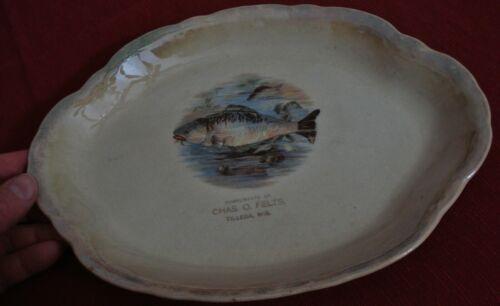 Antique Tilleda WI Souvenir PLATTER PLATE Chas O. Felts