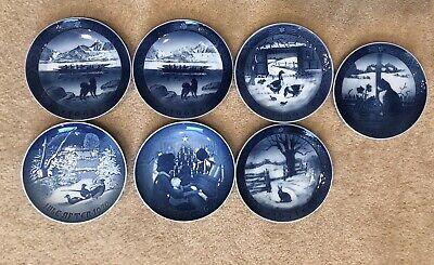 Vintage Royal Copenhagen Denmark Decorative Christmas Plates, 7 Plate Set