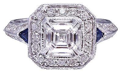 GIA F-VS2 18k White Gold Asscher Cut Diamond Engagement Deco Halo Ring 1.45ctw 11