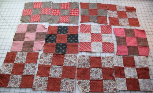 9258 12 antique 1870-90 9 Patch quilt blocks, lots of red, pretty prints