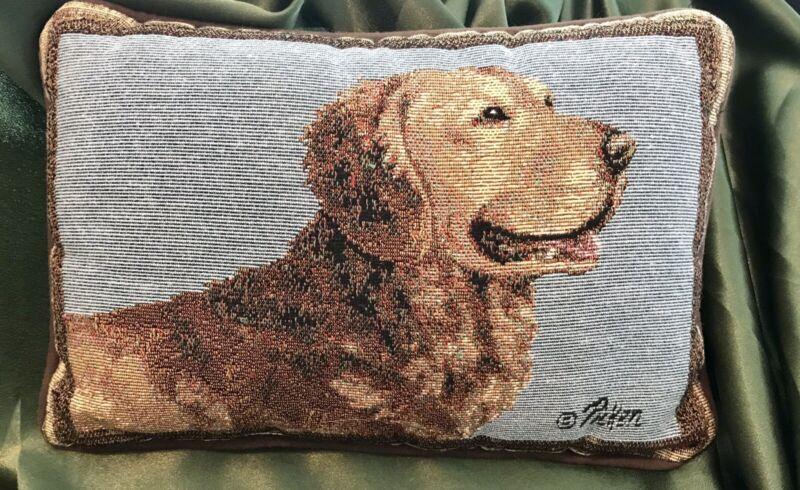 Beautiful Embroidered Golden Retriever Dog Pillow