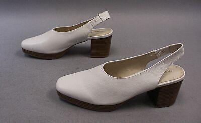 Intentionally Blank Women's Slingback Lotus Heel MC7 White Leather Size 10