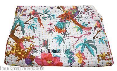 White King Bird Print Kantha Quilt Sari Indian Kantha Bedspread Kantha Rallies