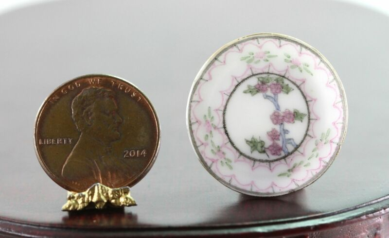 Dollhouse Miniature Artisan Hand Painted Eggshell Porcelain Pink & Green Plate