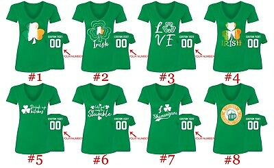St Patricks Day Women V Neck Shirts Customized Name Number Custom St Patty Tee