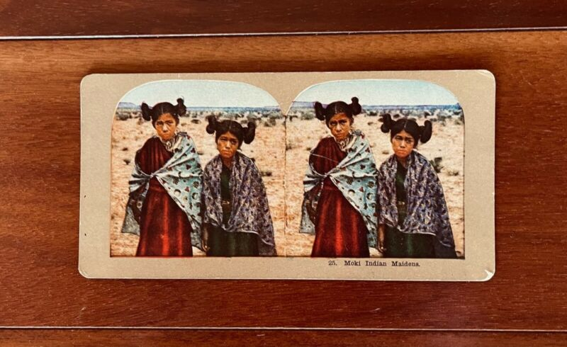 Old Color Stereo Photo Card of two MOKI (Hopi) Native American Maidens