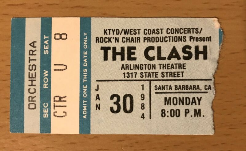 1984 THE CLASH SANTA BARBARA CA. CONCERT TICKET STUB JOE STRUMMER LONDON CALLING