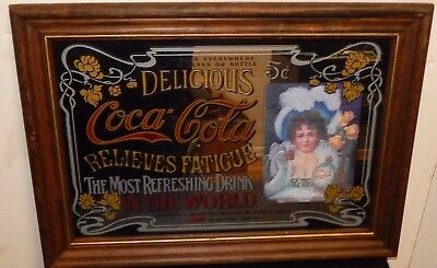 VINTAGE COCA COLA BAR MIRROR FRAMED IN WOOD