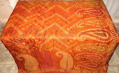 Pure silk Antique Vintage Sari EXOTIC 4Y S18 318 Brown UK #ABGNE
