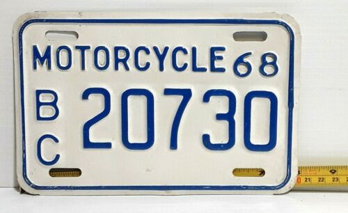 MOTORCYCLE license plate - BRITISH COLUMBIA - 1968 baby blue on white, old bird