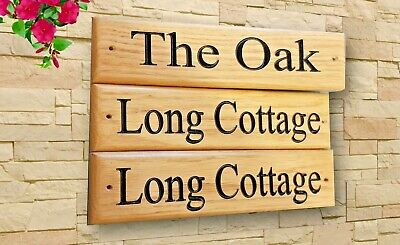Personalised Oak House Sign,Carved, Custom Engraved Outdoor Wooden Name Plaque