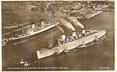 Cunard Line's legendary QUEEN MARY of 1936 in wartime grey at Southampton  (# 6)