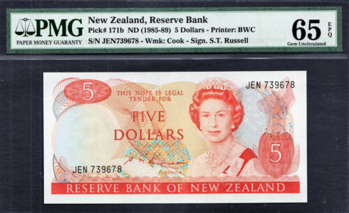 New Zealand 5 Dollars QEII 1985-89 S.T Russell Pick-171b GEM UNC PMG 65 EPQ