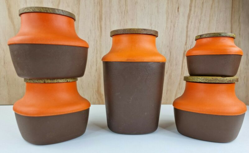 5 X Vintage Brown Orange Canisters Containers 70s Kitchenware Plastic Biscuit