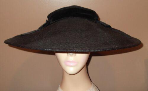 Vtg Bonwit Teller 5th Ave NY 1930s Hat Wide Brim Black Cartwheel Pancake & Bows