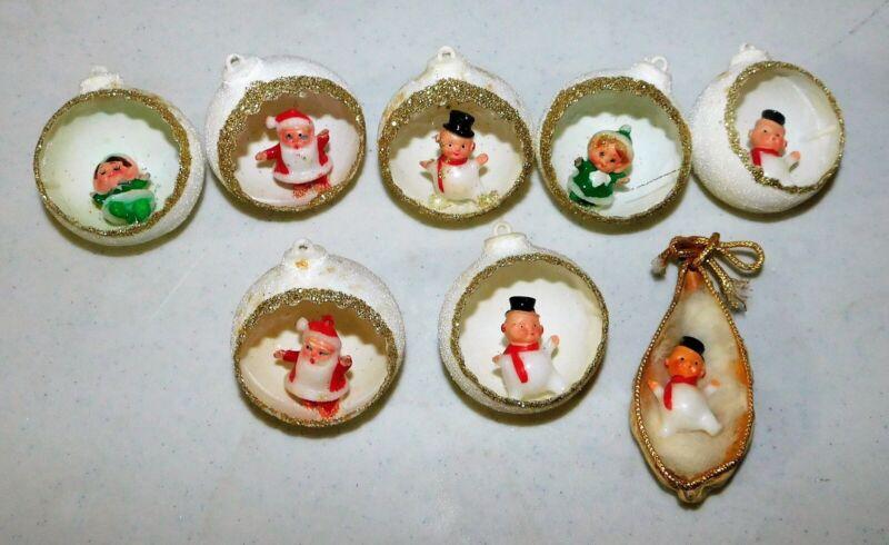 8 Christmas vintage Diorama Ornaments~Santa~Elves~Snowmen