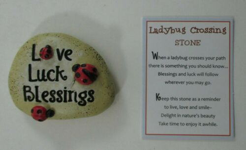 zzm love luck blessings LADYBUG CROSSING STONE FIGURINE GAnz