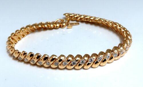 1.04ct Round Diamonds Slant Link Bracelet 14kt Gold